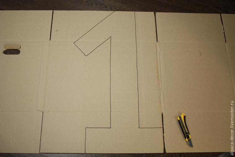 Цифра 1 из картона размеры
