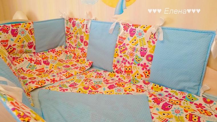 комплект в кроватку, разноцветный, бортики домики