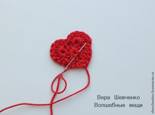 МК Вяжем сердечко - брелок (много фото), фото № 13