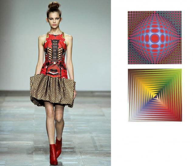 op art fashion and the Share your love for 1960s fashion: styles, trends, pictures & history women dressed to match op art paintings, with their stripes, checks and wavy line prints.