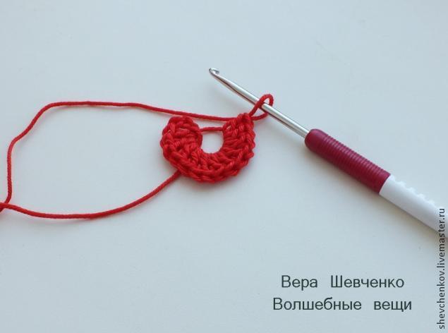 МК Вяжем сердечко - брелок (много фото), фото № 5