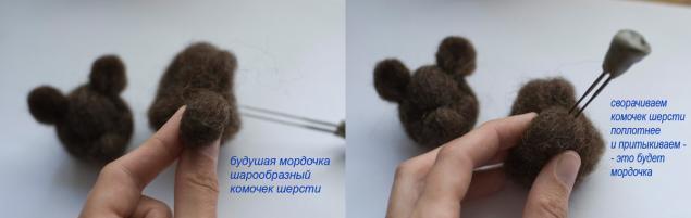 мишка ручной работы, фелтинг