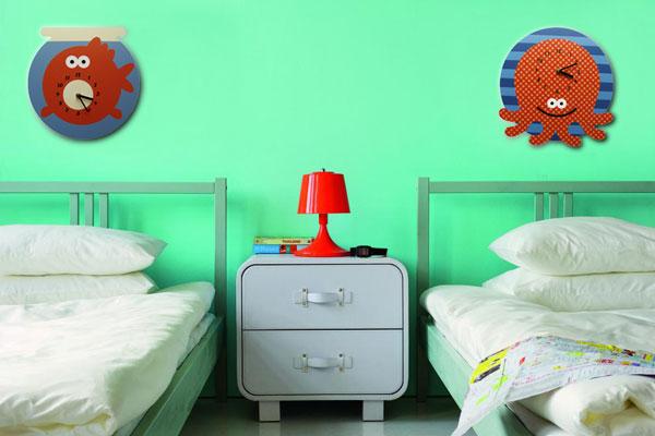настенные часы, осьмино, рыба, дизайнерские вещи, дизайнерские часы, часы в спальню, часы в детскую