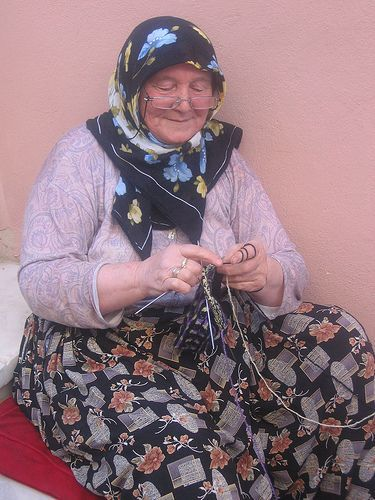 Woman Knitting socks
