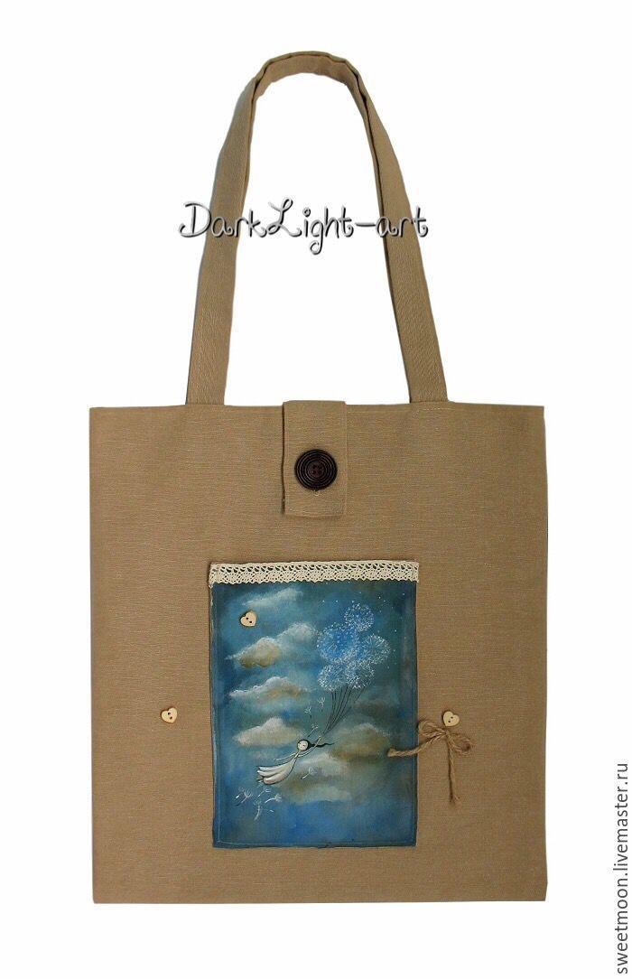 розыгрыш конфетки, летний розыгрыш, сумочка ручной работы, ручная роспись, хлопок 100%, девочка с цветами, облака