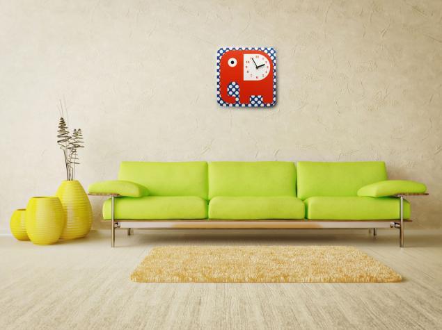 настенные часы, интерьерные часы, дизайнерские часы, часы со слоном, слоник, оранжевый слон, оранжевый, в горошек, часы в гостиную, оригинальные часы, креативные часы, часы в детскую, детские часы