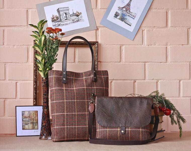 рюкзак, твид и кожа