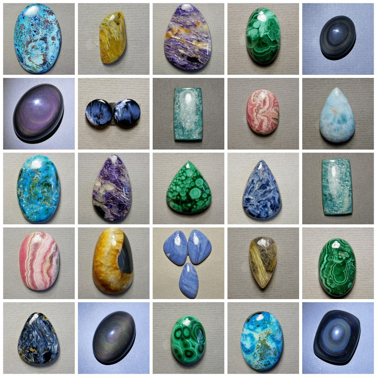 симбирцит, шайтанит, малахит, хризоколла, амазонит, питерсит, родохрозит, обсидиан