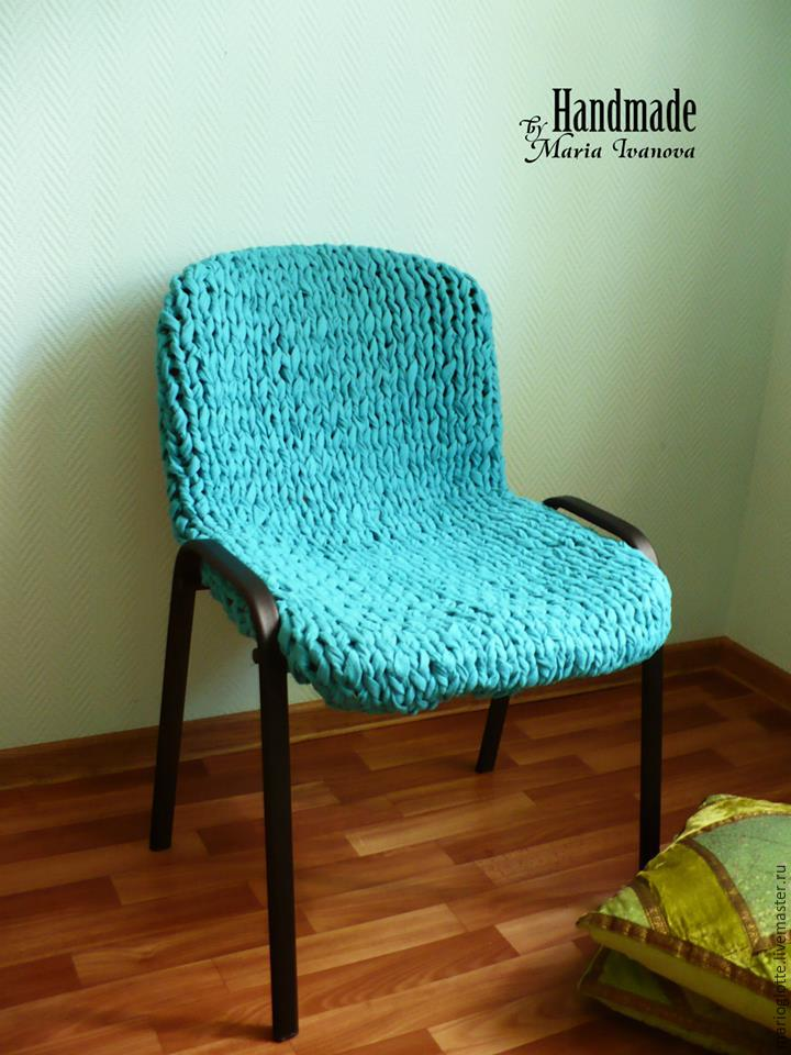 knitted cover on the chair
