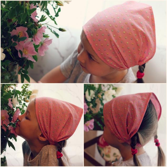 Детский платок на голову на резинке своими руками 14