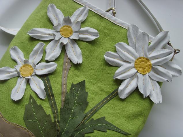 сумка из ткани, цветы из кожи, салатовый, шитье