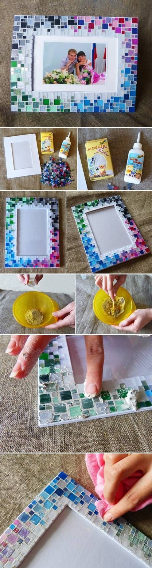 DIY Colorful Mosaic Picture Frame Pictures, Photos, and Images for Facebook, Tumblr, Pinterest, and Twitter