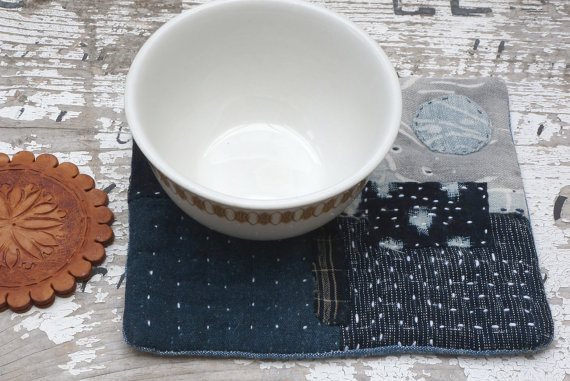 Boro style table mat made with antique Japanese fabrics