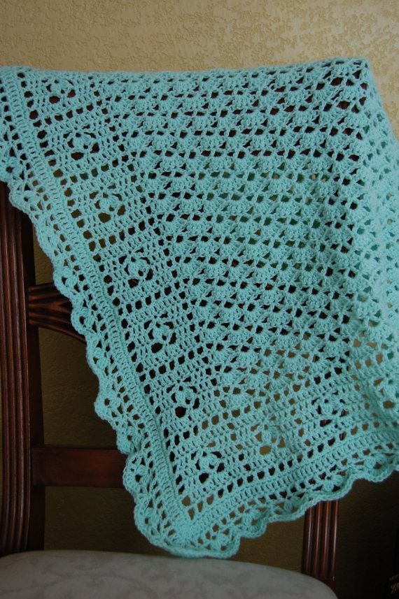 Oh Baby crochet  blanket in green
