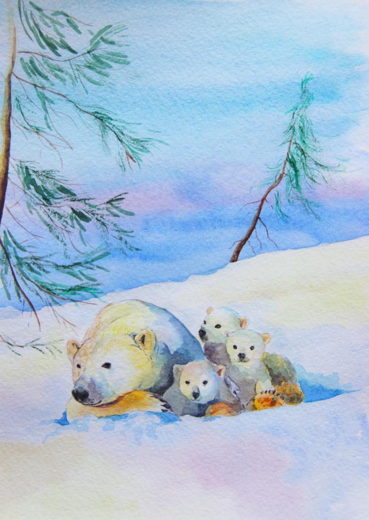 акварель, медвежонок, малыш