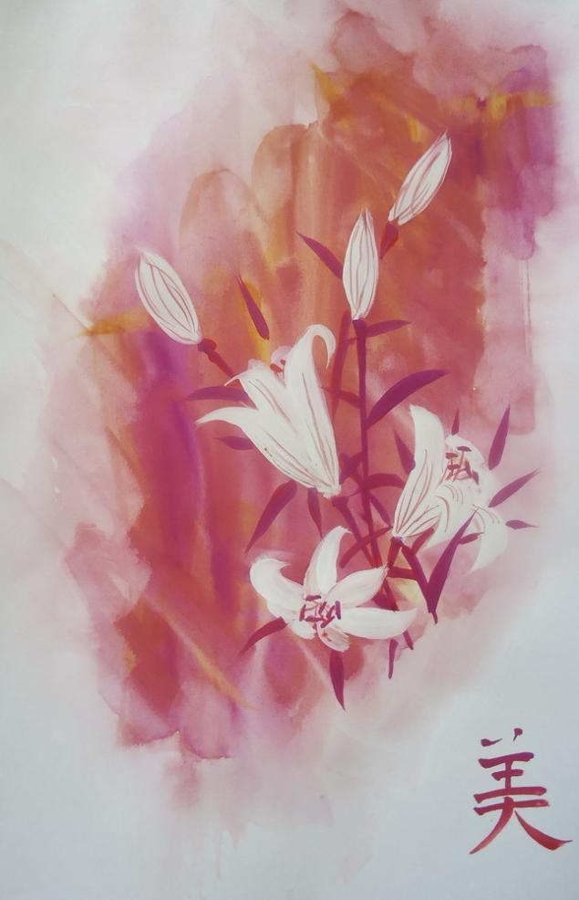 цветы, живопись, картины, картина, мастер-класс, натали котова, живопись у-син, обучение рисованию, обучение живописи, рисовая бумага, лилия