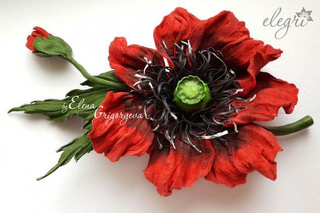 кожаная флористика, эксклюзивные цветы, обучение мак, обучение цветы из кожи, купить мак-брошь
