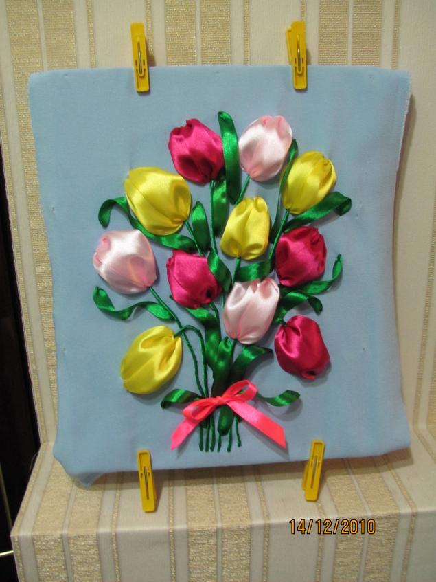 Мк тюльпаны из атласных лент своими руками мастер класс