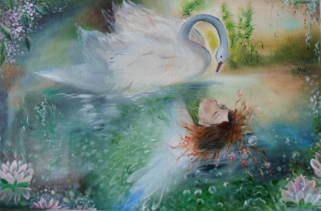 картина, фэнтези, картина сказка, картина волшебная, картина маслом, картина для интерьера, пруд, девушка, лебедь, фантазия, фантазийный сюжет