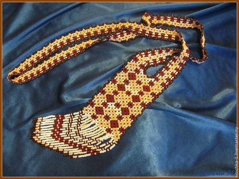 гердан, гердан из бисера, капучино, коричневый, геометрический узор