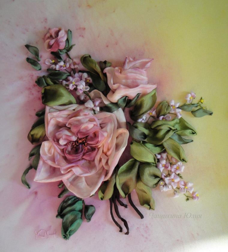 уроки, neserchay, вышить розы лентами