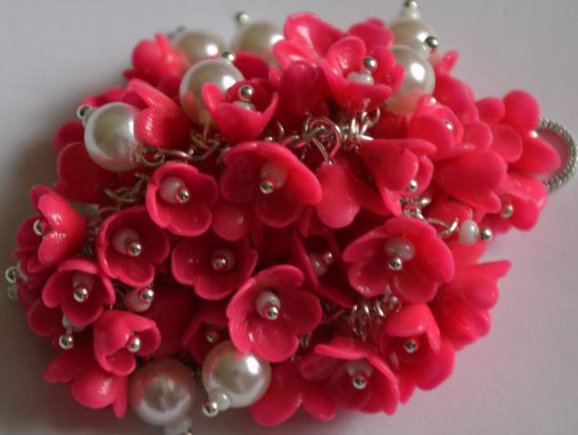 браслет цветочный, браслет полимерная глина