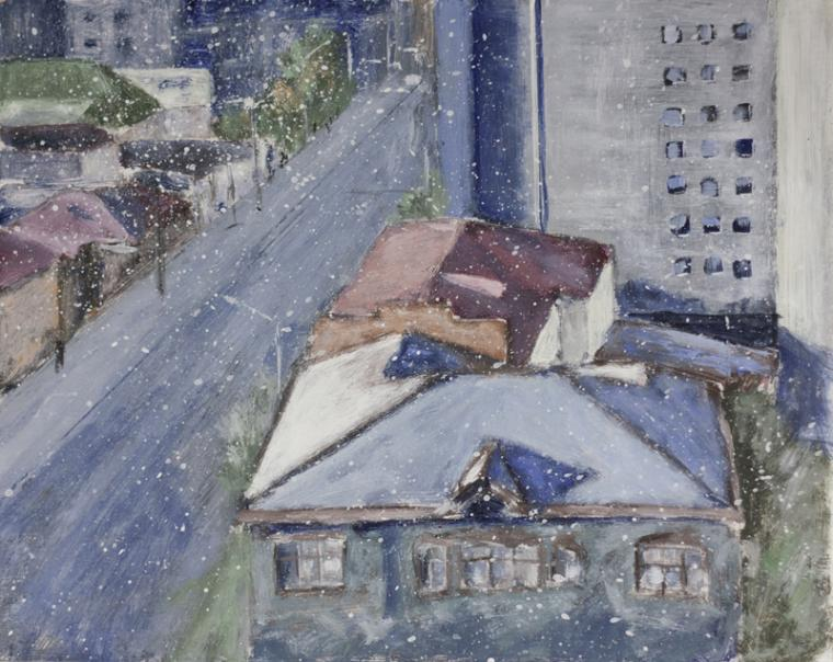 живопись, картина каждый день, акрил, красноярск, крыши