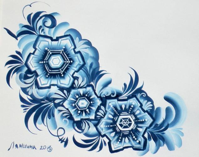 снег, снежинка, двойной мазок, гуашь, бумага, кисти, рисовать, синий, белый, голубой, зима