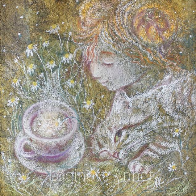 алиса в стране чудес, девочка, рыжая, весна, весенняя картина, весенний подарок, картина в зеленых тонах, зеленый, сказка