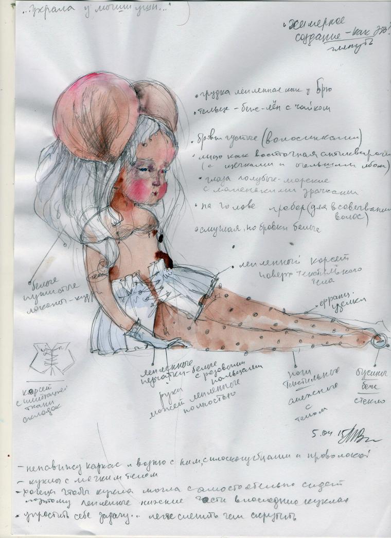 эскиз для куклы, авторские эскизы, куколка в чашке