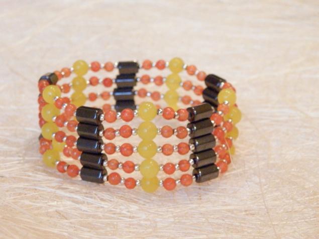 браслет-бусы, гематитовые бусы, магнитный браслет