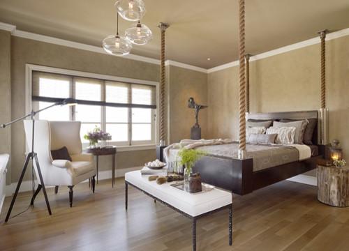 Подвесные кровати на веревке в интерьере