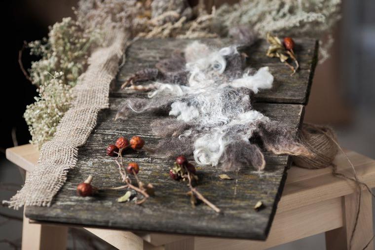Валяный легкий шарф на шелковой основе с опушкой из флиса., фото № 2