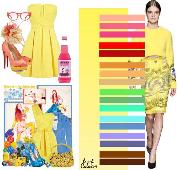 Жёлтая одежда с какими цветами сочетается фото