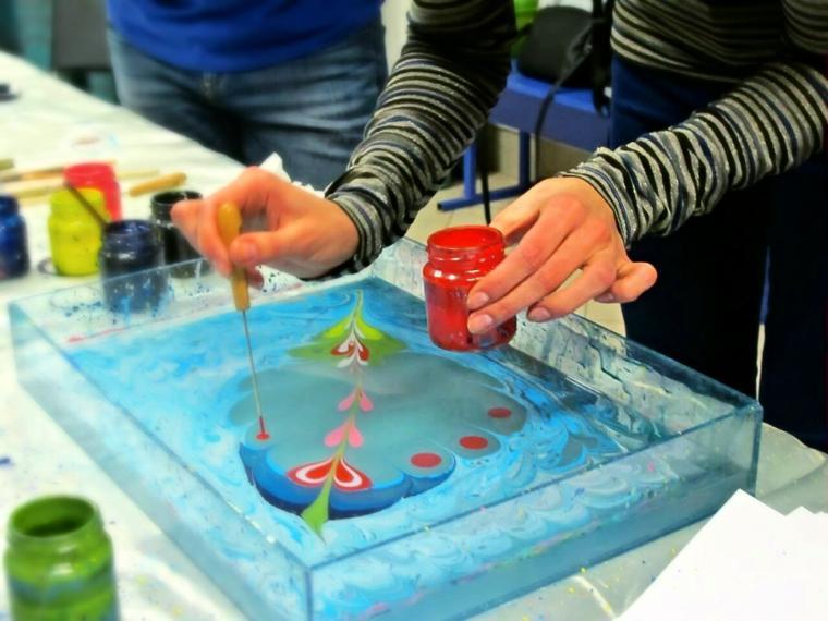 рисование на воде, арт-терапия, картина, натуральные материалы