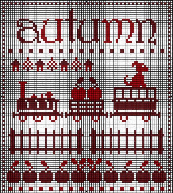 Схемы вышивки крестом-осень