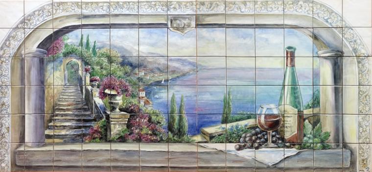 плитка для кухни, панно на кухню, роспись на керамике, кухня кантри