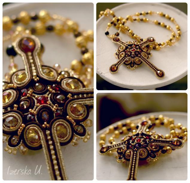 крест, золотой, золотой крест, сутажная вышивка, сутажные украшения