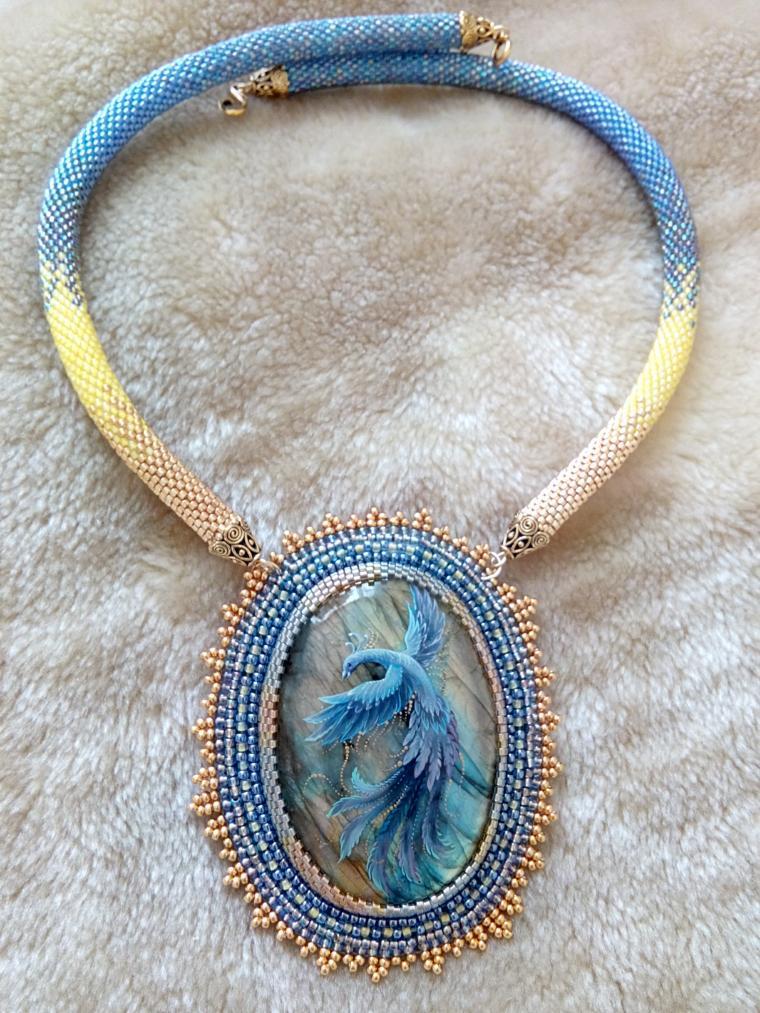 уникальное украшение, живопись на камне, кабошон для украшений, синяя птица, спасибо мастеру