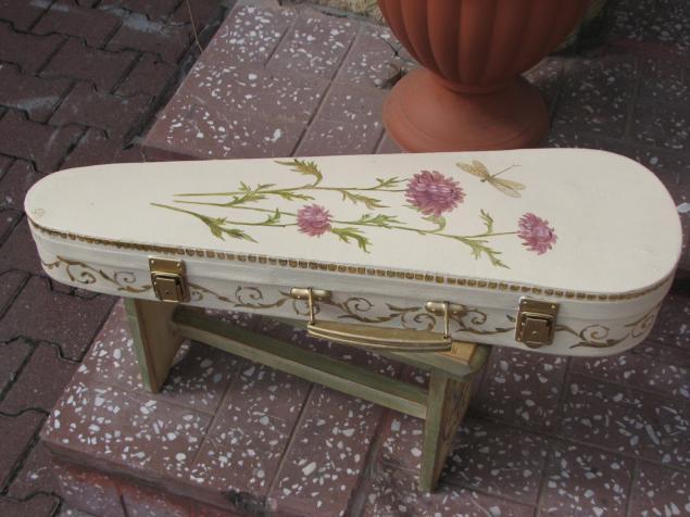 старый чемодан, декорирование мебели, роспись мебели, творческий досуг, чехол для скрипки