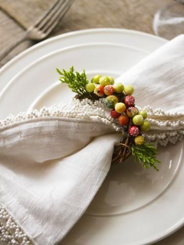 новогодний декор стола, яблоки