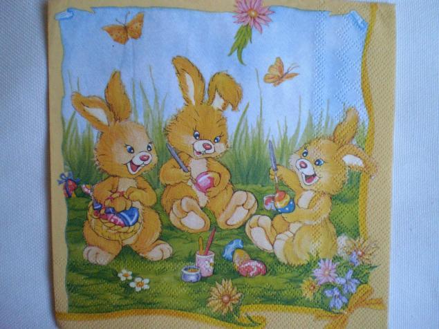 салфетка, детская, кролики, зайка, материалы для творчества