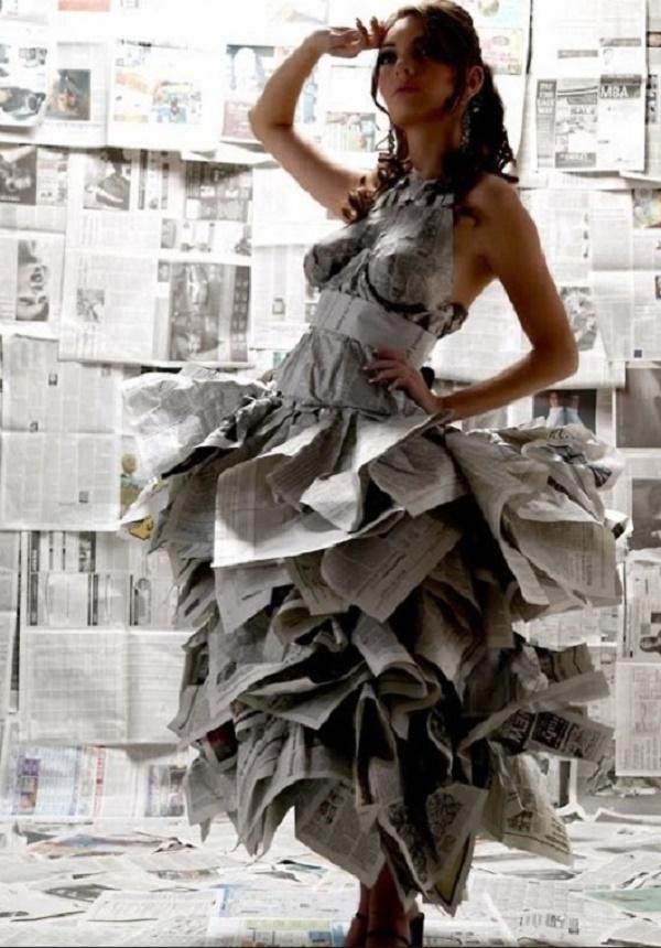 длинное платье из газеты своими руками