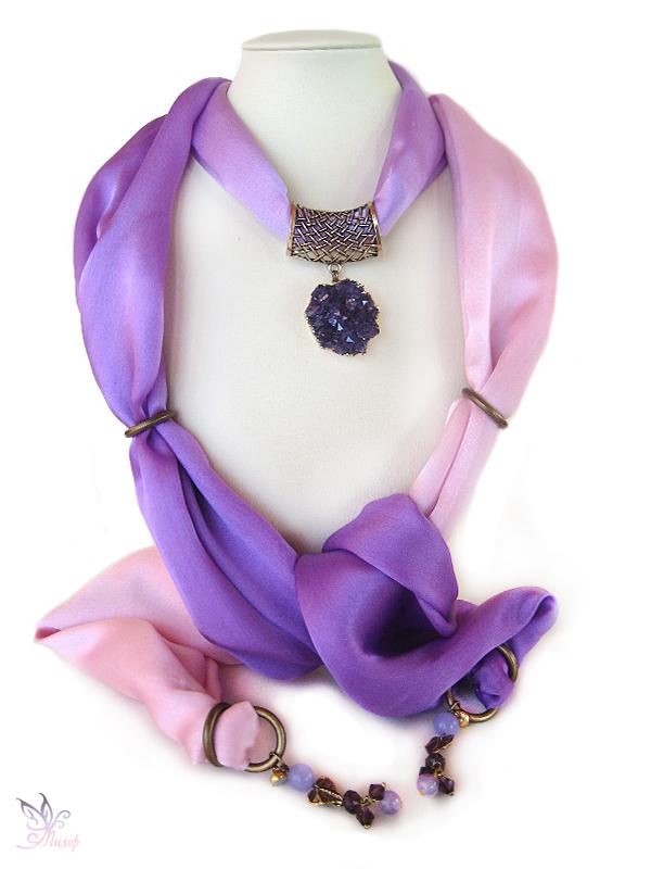 шарф с украшением, ярмарка мастеров