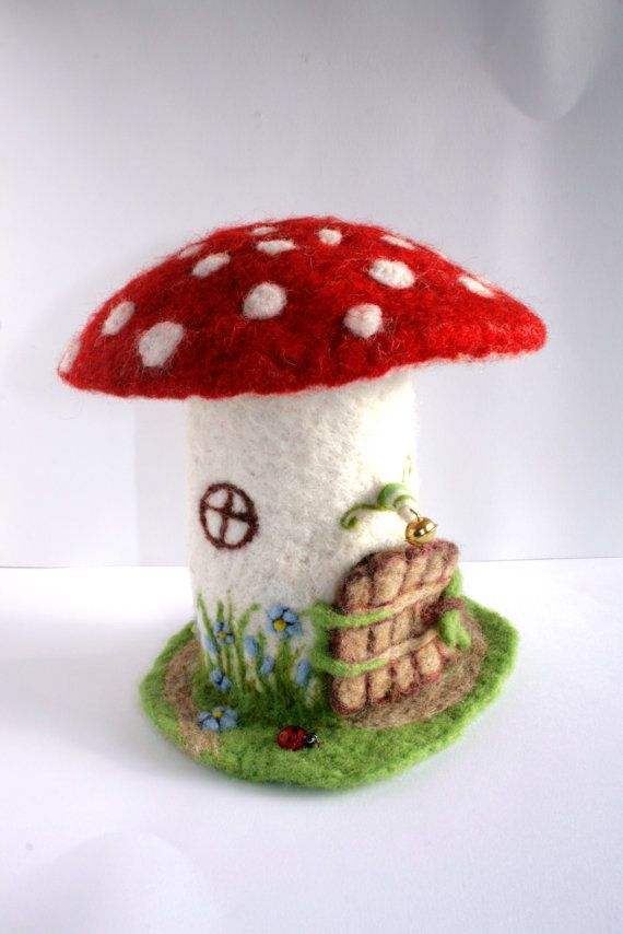 Needle felted FAIRY'S TOADSTOOL HOUSE by Sitija on Etsy