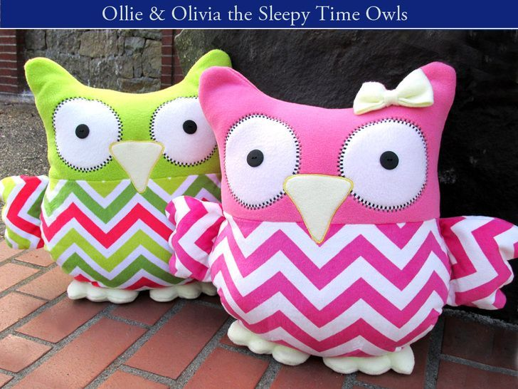 Sleepy Time Stuffed Owls with Fairfield - these owls are super soft like a pillow and big! Even the big kids here in our studio want one (or two). | Sew4Home
