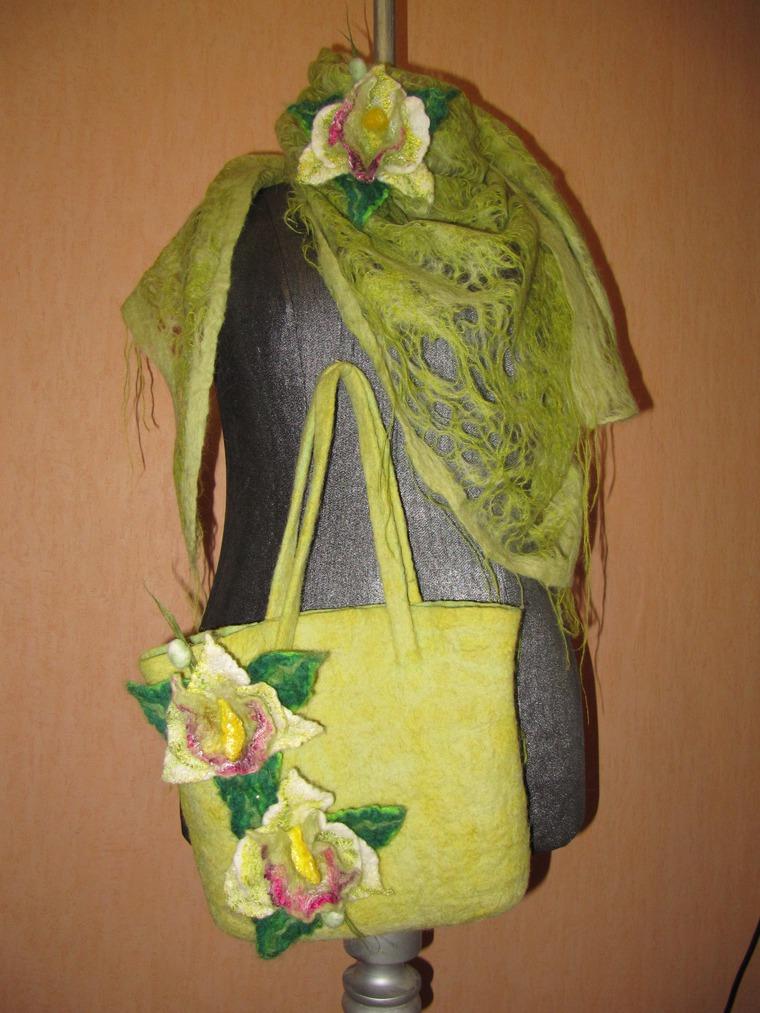 зеленая орхидея, сумка с цветами