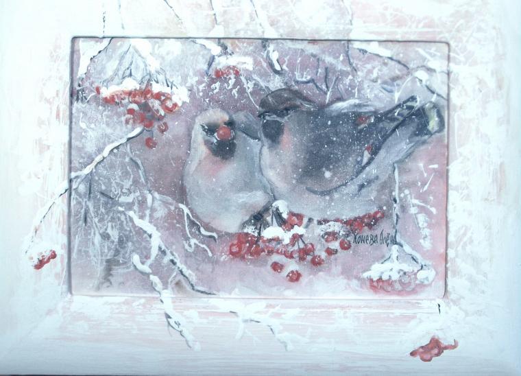 картина принт, зимняя сказка, авторский принт холст