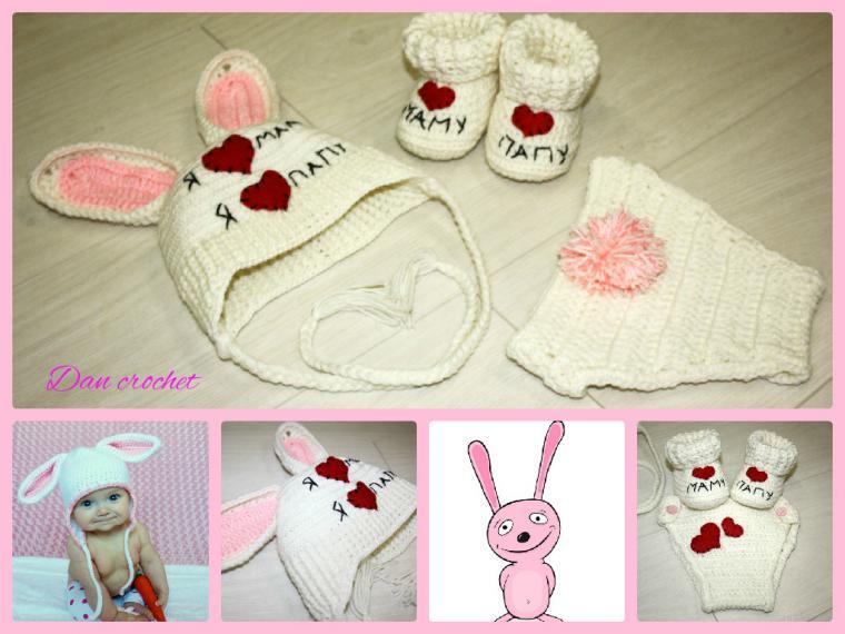 Пинетки и шапочка для новорожденного крючком