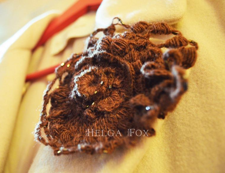 брошь, купить брошь, брошь-цветок, брошь с цветком, брошь вязаная, шерстяная брошь, брошь крючком, большая брошь, коричневая брошь, красивая брошь, необычная картина, бохо, boho